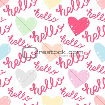Tile vector pattern with pastel hearts and hello text on white background