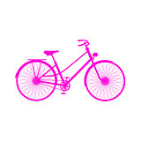 Pink silhouette of retro bicycle
