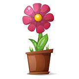 pot, flower - cartoon illustration.