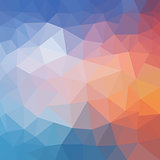 Abstract triangular background. Bright polygon texture of sea sunset for modern design. Vector illustration.