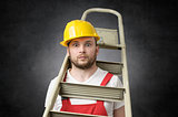 Clumsy worker with ladder