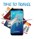 Air travel international vacation concept. Business travel banner with airline tickets and realistic airplane. Travel agency advertisement airplane poster. Vector illustration