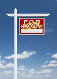 Right Facing Sold For Sale Real Estate Sign on a Blue Sky with C