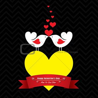 Valentine card with cute birds illustration