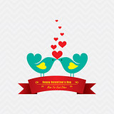 Valentine card with cute birds illustration