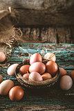 Eggs  on wood
