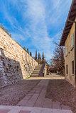 Entrance to the castle of Brescia, Italy