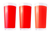 Fresh juices over white background