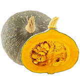 Isolated one whole and half pumpkin on white background