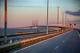 View on Oresund bridge between Sweden and Denmark at sunset