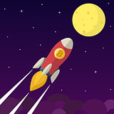 Bitcoin icon rocket