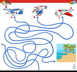 paths maze game with aircraft characters