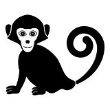 Monkey icon black color fill flat style