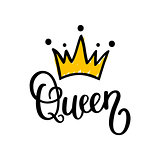 Queen crown vector calligraphy design