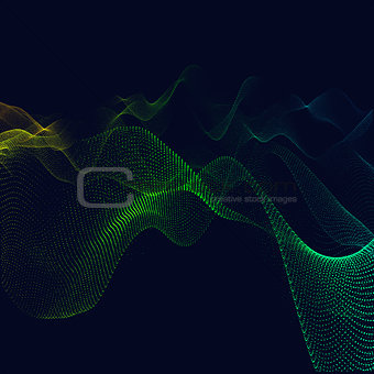 Abstract particles background. Fractal waves digital area