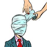 fully bandaged head, medical trauma