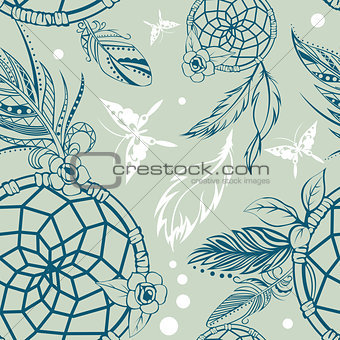 Seamless Pattern with Dream Catcher
