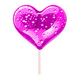 Purple lollipop in the shape of a heart. Design elements for Valentines day. Vector illustration.
