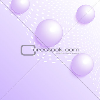 3d balls on violet background.