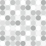 Tile vector pattern with big white, grey and black polka dots on grey background