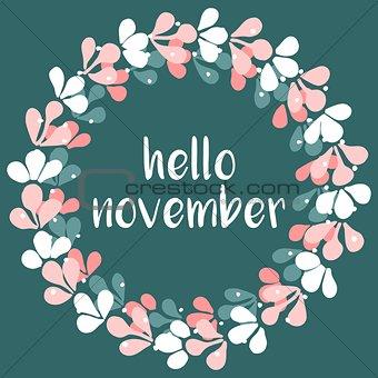 Hello november wreath vector card