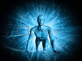 3D abstract techno background with male figure in running start