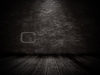 3D grunge interior with brick wall and old wooden floor