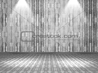 3D wooden interior with spotlights shining down