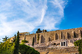Acropolis hill of Athens in Greece with stone walls