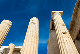 Pillars of Propylaia gateway in Acropolis of Athens, Greece