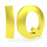 Curved golden IQ sign