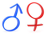 Curved male and female gender symbols