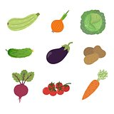 Vector vegetables icons set in cartoon style. Collection farm product for restaurant menu, market label.