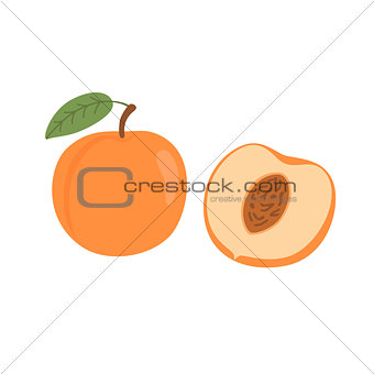 Bright vector set of colorful half and whole of juicy peach. Fresh cartoon peaches isolated on white background.