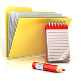 Folder icon with red pencil and notepad. 3D