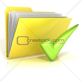 Positive, green check mark folder icon, 3D