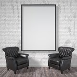 Blank picture frame with black armchairs. Mock up poster. 3D