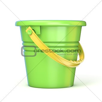 Green yellow sand toy bucket. 3D