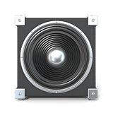 Black audio speaker. 3D