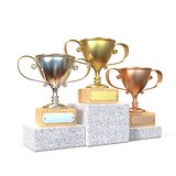 Gold, silver and bronze winners trophy cups 3D