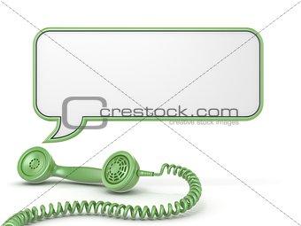Green telephone handset and speech bubble 3D