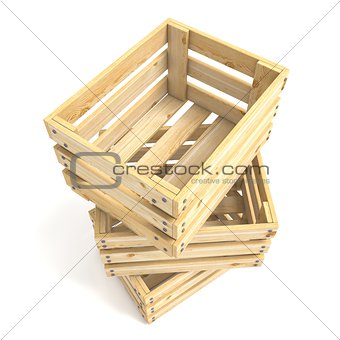Three empty wooden crate. 3D