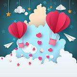 Cartoon paper air landscape. Cloud, airplane, heart, love, star.