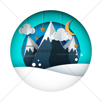 Cartoon paper landscape. Mountain, cloud, sun, star, moon, sky.