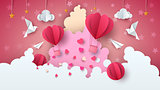 Love balloon illustration. Valentine s Day. Cloud, star, sky