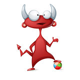 Cartoon funny, cute devil - play football, soccer illustration.