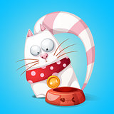 Funny, cute cartoon character cats. Animal eats from bowl.