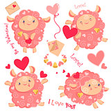 Vector illustration Valentine day clipart set of cute funny pink girl sheeps, hearts, letters, dancing running jumping staying with bell for kids and babies print and textile design, wall design