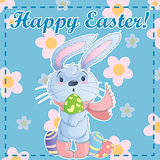 Greeting post card template Happy Easter with cute cartoon bunny holding easter eggs on a green background with chamomile. Vector illustration.