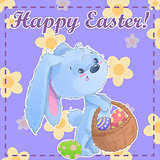 Greeting post card printable template Happy Easter with cute cartoon bunny holding easter eggs on a green background with chamomile. Vector illustration.